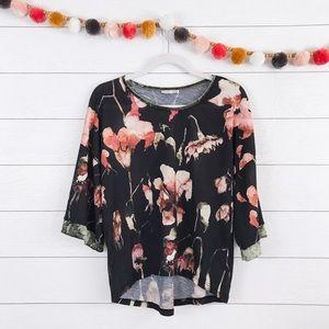 Zara • Black Floral Print Velvet Trim Tunic Top